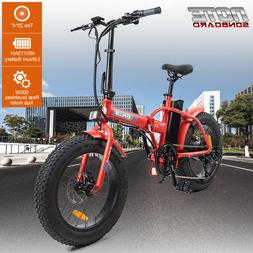 "20"" 48V 13AH 500W Folding Electric Fat Tire Bike Beach Bicyc"