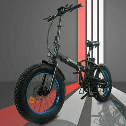 "20"" 48V 12.5 AH 500W Folding Electric Fat Tire Bike Beach Bi"