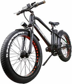 "26"" 500W Electric Bicycle Fat Tire EBike Shimano 6 Speeds Ge"