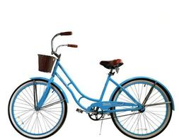 """26"""" Women's Bike with Basket Light Blue Coaster Brakes and F"""