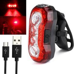 4 LEDs Bike Bicycle Cycling Tail Light Rear USB Rechargeable