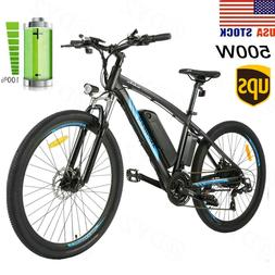 500W 26'' Electric Bike Mountain Bicycle EBike 21 Speed 48V
