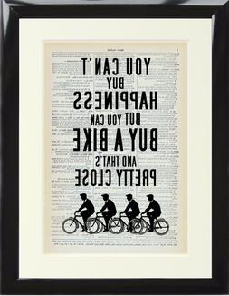 Cycling Bicycle Quote Dictionary Art Print Can't Buy Happine