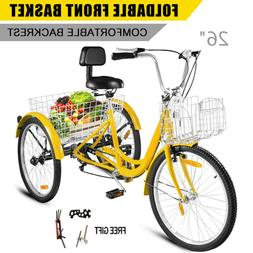"""Double Basket 26"""" Adult Tricycle 3-Wheel Shinmo 7 Speed Bicy"""