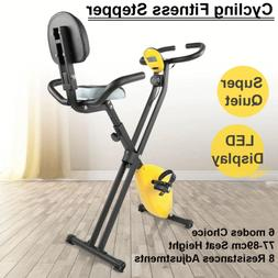 Foldable Magnetic Mute Exercise Bike Stepper Machine LCD Sta