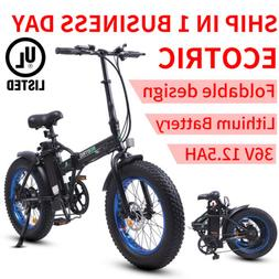 "Folding 20""500W 36V12.5Ah 4""Tire Electric Bicycle Beach Snow"