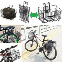Folding Metal Wire Basket Front Bicycle Bike Storage Carrier