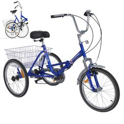 Folding Tricycle 7Speed 20inch 3 Wheel Bike Foldable Bicycle