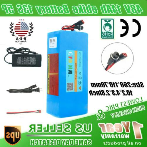 Ebike Battery 48V10Ah Lithium li-ion 750W Electric Bicycle Motor Scooter BMS USA