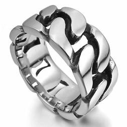 MENDINO Men's Stainless Steel Ring Classic Curb Chain Polish