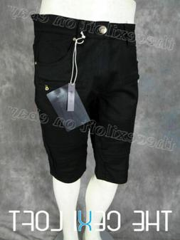 Mens MOTO BIKER Style Shorts in Black with Gold Zippers and