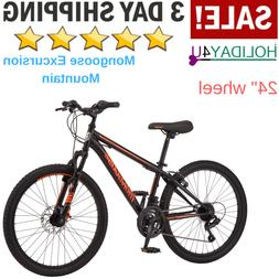 Mongoose Mountain Bike Black/Orange Steel Frame 24 Inch Whee