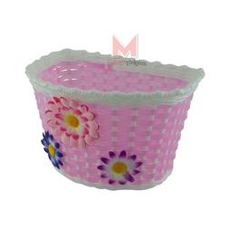 """NEW 16""""/20"""" Bicycle Basket Pink/White With 3 Flowers Girl Ki"""