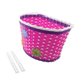 """NEW! 16"""" Bicycle Basket Pink/Purple/White With 3 Flowers Gir"""