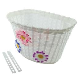 NEW Bicycle Basket White With 3 Flowers Blue/Pink/Purple Gir