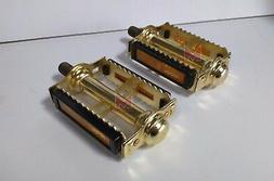 """NEW Gold Rat Trap Bicycle Pedals 1/2"""" Old School Vintage Sty"""