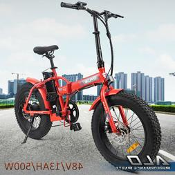 Red Folding Electric Fat Tire Bike Beach Bicycle City Ebike