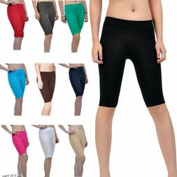 Seamless Stretch Bike Shorts Solid Colors Spandex Knee Lengt