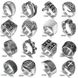Silver 316L Stainless Steel Mens Rings Gothic Biker Band Rin