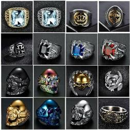 Silver Gold Stainless Steel Gothic Punk Biker Rings Fashion