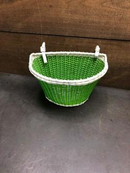 Vintage Woven Bicycle Bike Basket White & Green W/ Leather S