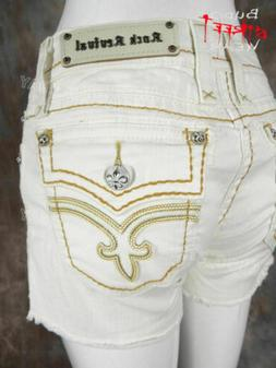 Womens ROCK REVIVAL Shorts FLO in WHITE with Gold Stitch Tri